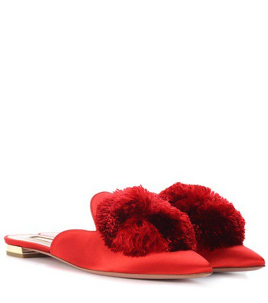 Aquazzura slippers satin red shoes