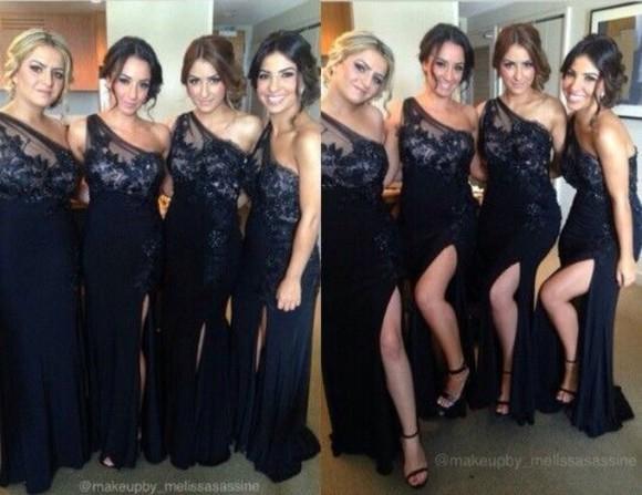 one shoulder slit dress bridesmaid