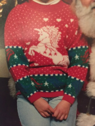 vintage unicorn christmas sweater