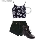 top,black and white,short,flowers,floral top