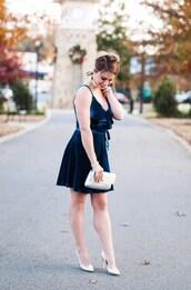 herestheskinny,blogger,dress,bag,shoes,jewels,make-up,blue dress,mini dress,velvet dress,metallic shoes,high heel pumps