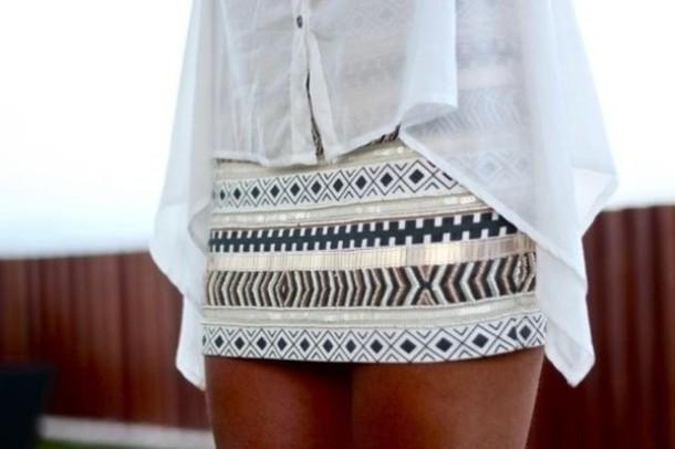 Skirt Aztec Shirt Blouse Flowy Top Chiffon See Through Light Blue