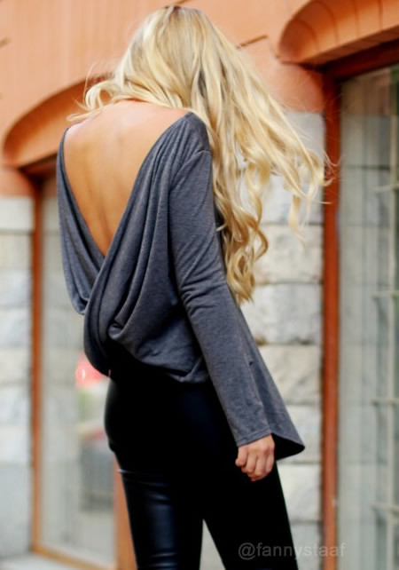 Draped V-back Top - Grey - Lookbook Store