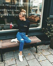 jeans,blue,tumblr,jumper,hipster,fashion,girly,ripped jeans,blue jeans,2016,style,black,navy,denim,love,black blouse,streetstyle,lovely,sweater,t-shirt,pants,adidas,high waisted jeans,light blue boyfriend jeans