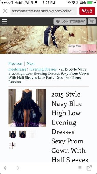 dress navy high low dress