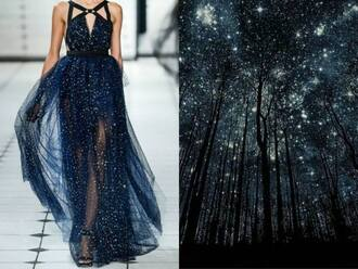 dress couture prom stars blue nature based