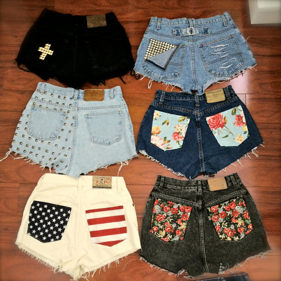 One of a kind custom made high waisted shorts on Wanelo