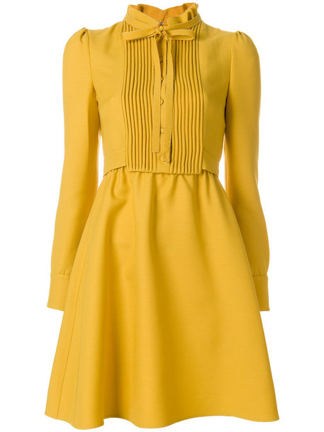Valentino dress women silk wool yellow orange