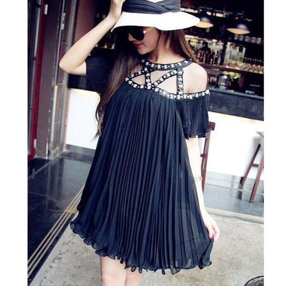 beaded little black dress pleated cut-out off the shoulder mesh dress boho gypsy