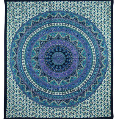 Queen Blue Mandala Psychedelic Bohemian Wall Tapestry Bedspread - RoyalFurnish.com