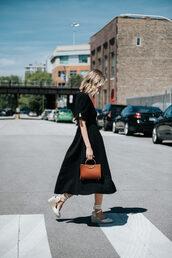 dress,midi dress,black dress,bag,shoes