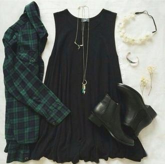 shirt black t-shirt plaid checkered tartan black dress boots jewels necklace bracelets headband floral headband dress hat shoes