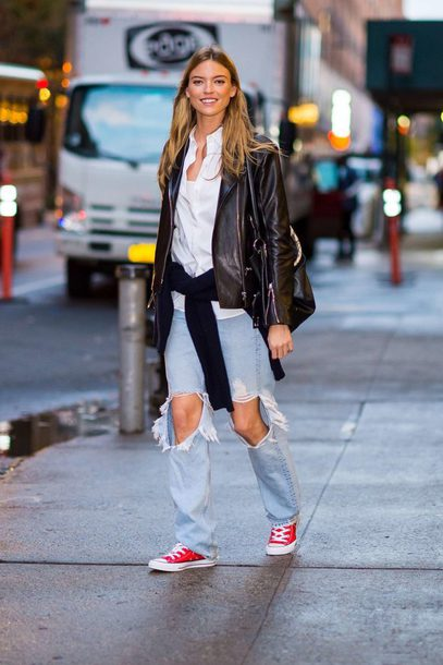 jeans ripped jeans blouse shirt martha hunt jacket biker jacket streetstyle fall outfits sneakers model off-duty