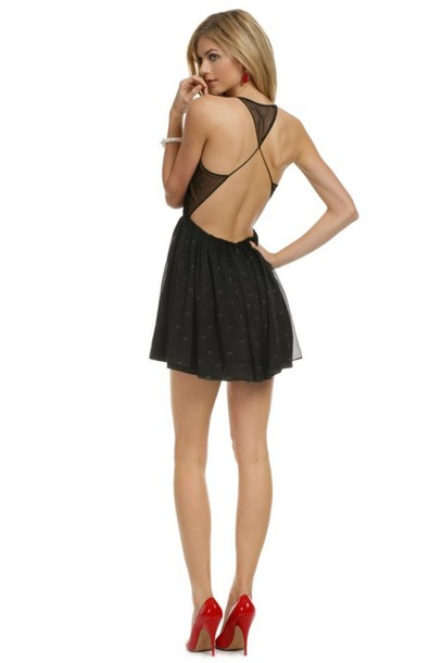 backless sheer little black dress black mini dress