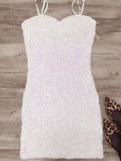 dress,white,summer,party dress,white dress,trendy,feminine,sequins,glitter,zaful,sparkly dress,sequin dress,mini dress,spaghetti strap,summer dress