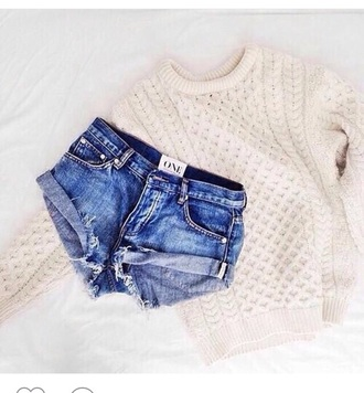 shorts cuffed shorts cable knit casual knitted sweater college