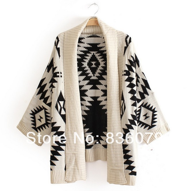 Big sale 2014 Spring fashion Women Aztec Cardigan Tribal Print Chunky Wool Cardigan woman batwing sweaters-in Cardigans from Apparel & Accessories on Aliexpress.com