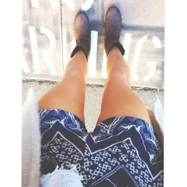 Shorts: tribal pattern, blue shorts, short shorts, printed shorts ...