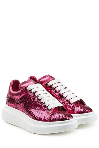 glitter sneakers leather pink shoes