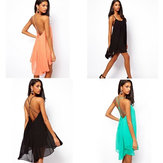 Hot Fashion Women's Sexy Backless Sling Strap Thin Chiffon Mini Dress 4 Sizes | eBay