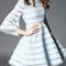 Blue bell sleeve hollow a-line dress -shein(sheinside)