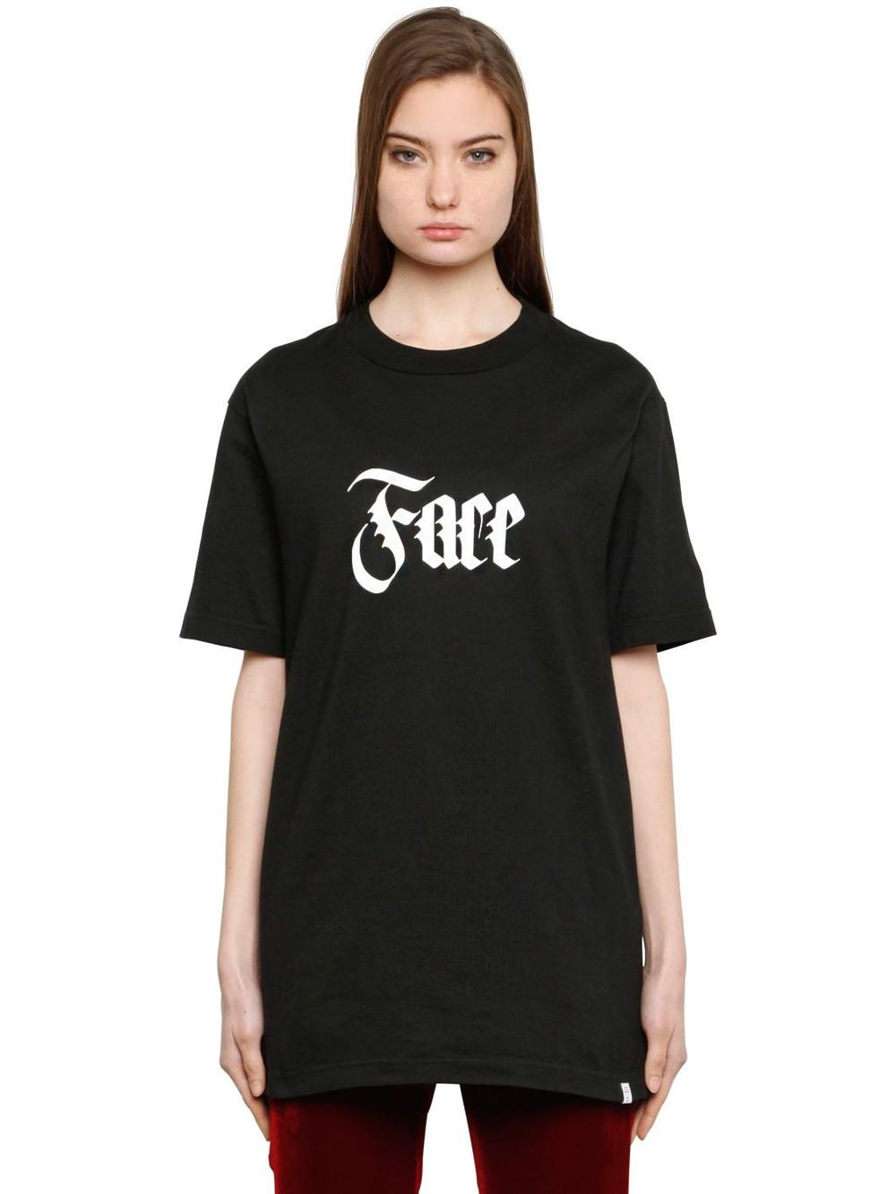 FACETASM Face Printed Cotton T-shirt in black