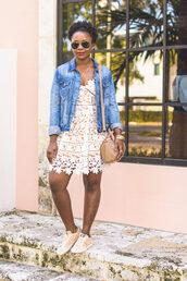 pinksole,blogger,sunglasses,jewels,dress,jacket,shoes,bag,lace dress,denim jacket,sneakers,shoulder bag,spring outfits