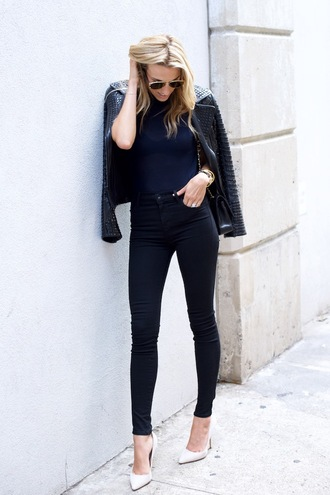mind body swag blogger black leather jacket black jeans skinny jeans