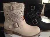 shoes,faux leather,leather,biker,biker boots,buckles,lace,black,beige,rhinestones
