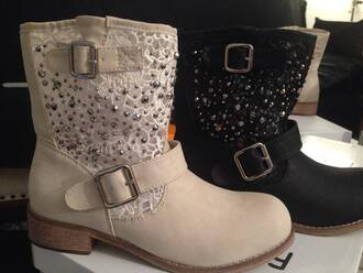 shoes faux leather leather biker biker boots buckles lace black beige rhinestones