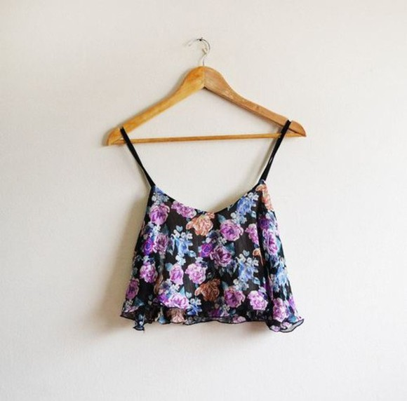 black straps cute crop tops top floral flowers colorful