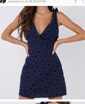 dress,navy,mini dress,v neck,v neck dress,criss cross back