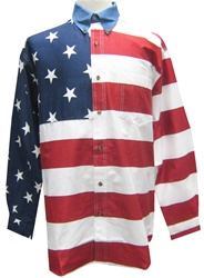 Roper Men's Woven Long Sleeve American Flag Shirt | TheFlagShirt.com