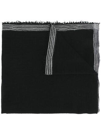 women scarf black silk wool