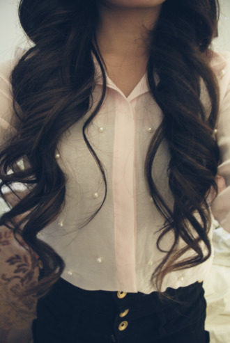 blouse white pearl girly cute fashion outfit hair accessory shirt одежда