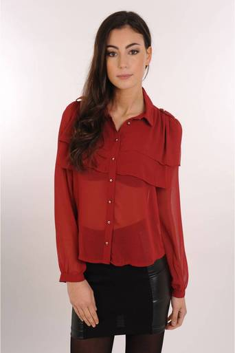 Ladies Nabila Burgundy Frill Blouse | Pop Couture