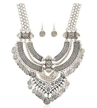 jewels necklace silver boho boho chic bib necklaces