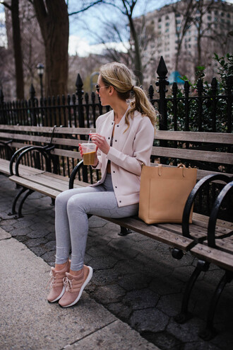 katie's bliss - a personal style blog based in nyc blogger leggings underwear jacket shoes bag sneakers tote bag