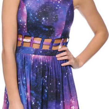 Love, Fire Purple Galaxy Print Cage Waist Skater Dress on Wanelo