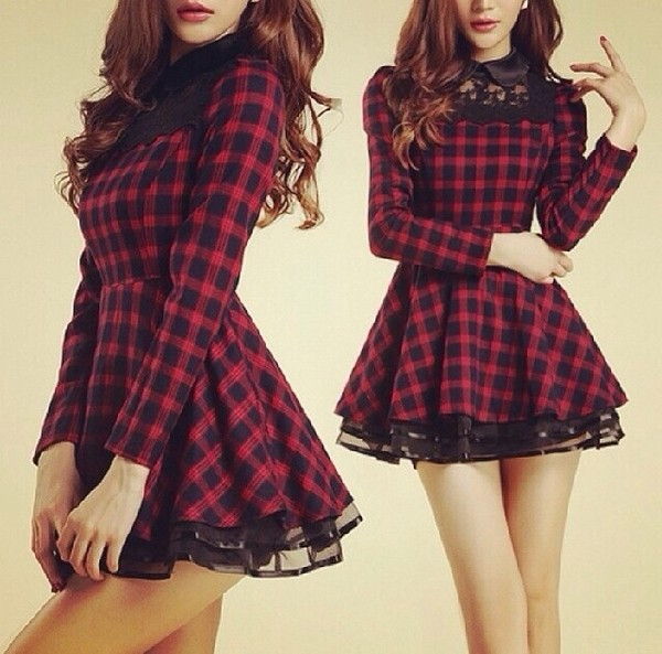 dress lace collar tartan checkered red dress black fashion school girl girly