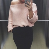 skirt,pink,pink sweater,crochet,black skirt,outfit,outfit idea,fashion,fashion inspo,sweater,clothes,jumper,blogger,t-shirt,pastel,summer,zara top,zara,blouse,oversized sweater,baby pink,pastel pink,jewels,off the shoulder sweater,knitwear,fall sweater,winter sweater,cardigan,rose