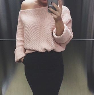 skirt pink pink sweater crochet black skirt outfit outfit idea fashion fashion inspo sweater clothes jumper blogger t-shirt pastel summer zara top zara blouse oversized sweater baby pink pastel pink jewels off the shoulder sweater knitwear fall sweater winter sweater cardigan rose