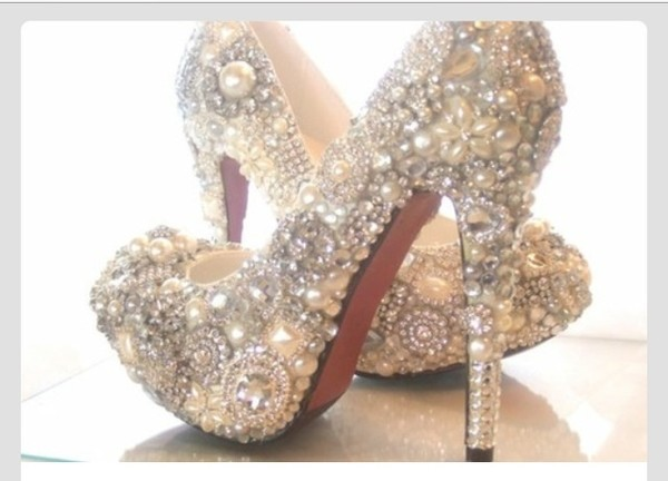 shoes high heels fancy pearl glitter silver sparkles