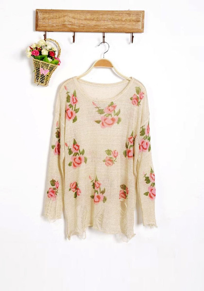 Floral Frayed Cuffs Top-Apricot