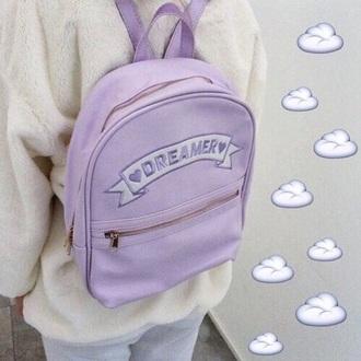 bag dreamer backpack cool grunge purple lilac sweet style pastel bag pastel kawaii bag kawaii kawaii grunge trendy back to school fashion boogzel