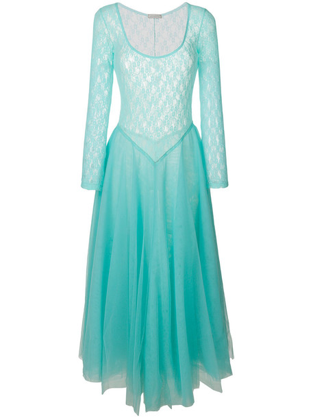 NINA RICCI dress lace dress women lace blue