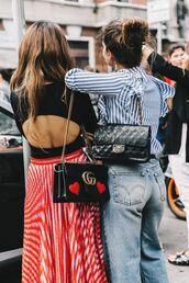 bag,tumblr,gucci,gucci bag,chanel,chanel bag,designer bag,denim,jeans,blue jeans,light blue jeans,ruffle,ruffle shirt,stripes,striped shirt,top,black top,open back,backless,backless top,skirt,red skirt,striped skirt,pleated skirt,pleated,girl squad