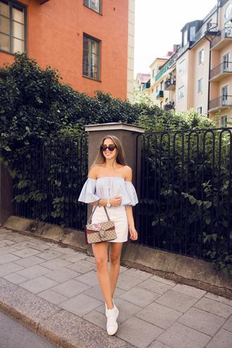 kenza blogger top skirt shoes bag jewels streetwear topshop adidas shoes gucci bag
