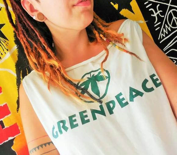 white tank top green peace plants