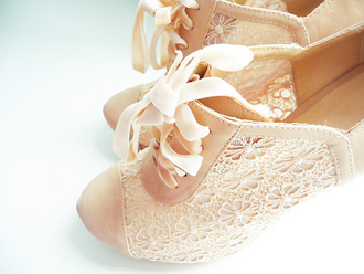shoes lace ivory beige bow cute high heels flowers beautifull nude nude high heels